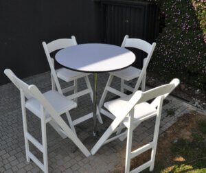 שולחן בר עגול לבן קוטר 80