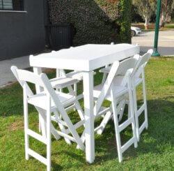 """שולחן בר לבן 120 ס""""מ על 80 ס""""מ"""